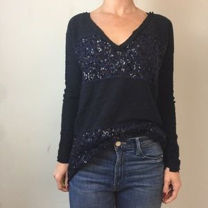 Free People Navy Sequin Stripe Sweater Shirt